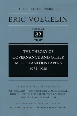 Theory of Governance and Other Miscellaneous Papers, 1921-1938 (CW32)
